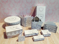 Download  - Wedding Hat/veil box, shoe,glove Box Kit-Silver Heart