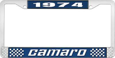 1974 Camaro Style #2 License Plate Frame - Blue and Chrome with White  Lettering