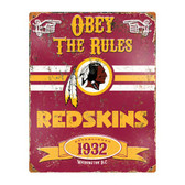 Washington Redskins Vintage Metal Sign