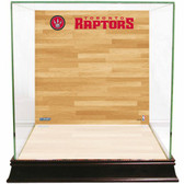 Toronto Raptors Logo On Court Background Glass Basketball Display Case
