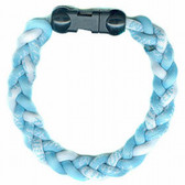Titanium Ionic Braided Wristband - Carolina Blue/White