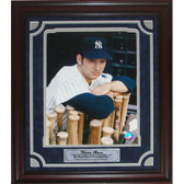 Thurman Munson Unsigned / Framed Leaning on Bats