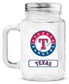 Texas Rangers Mason Jar Glass With Lid