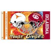 Texas Longhorns / Oklahoma Sooners House Divided 3 x 5 Helmet Flag