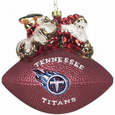 "Tennessee Titans 5 1/2"" Peggy Abrams Glass Football Ornament"