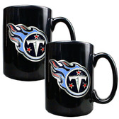 Tennessee Titans 2pc Black Ceramic Mug Set - Primary Logo