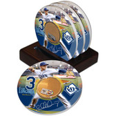Tampa Bay Rays Evan Longoria Game Used Dirt Coasters (set of 4)