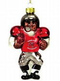 Tampa Bay Buccaneers Blown Glass Football Player Ornament