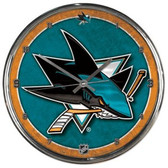 San Jose Sharks Round Chrome Wall Clock