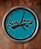San Jose Sharks Chrome Clock