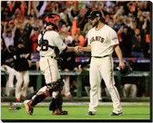 San Francisco Giants 16x20 Stretched Canvas Buster Posey & Madison Bumgarner Game 5 of the 2014 World Series Action