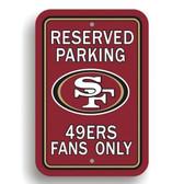 San Francisco 49er's Plastic Parking Sign - Reserved Parking