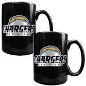 San Diego Chargers 2pc Black Ceramic Mug Set - Primary Logo