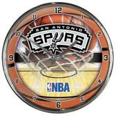San Antonio Spurs Round Chrome Wall Clock