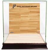 San Antonio Spurs Logo On Court Background Glass Basketball Display Case