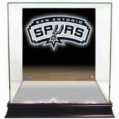 San Antonio Spurs Logo Background Glass Basketball Display Case