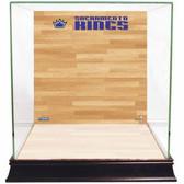 Sacramento Kings Logo On Court Background Glass Basketball Display Case