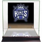 Sacramento Kings Logo Background Glass Basketball Display Case