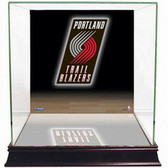Portland Trail Blazers Logo Background Glass Basketball Display Case