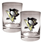 Pittsburgh Penguins 2pc Rocks Glass Set - Primary Logo