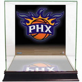 Phoenix Suns Logo Background Glass Basketball Display Case