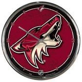 Phoenix Coyotes Round Chrome Wall Clock