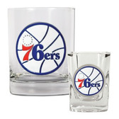 Philadelphia 76ers Rocks and Shot Glass Set