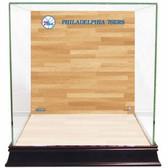 Philadelphia 76ers Logo On Court Background Glass Basketball Display Case