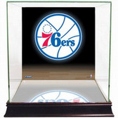 Philadelphia 76ers Logo Background Glass Basketball Display Case