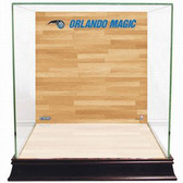 Orlando Magic Logo On Court Background Glass Basketball Display Case