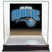Orlando Magic Logo Background Glass Basketball Display Case