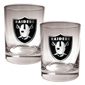 Oakland Raiders 2pc Rocks Glass Set