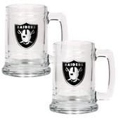 Oakland Raiders 2pc Glass Tankard Set