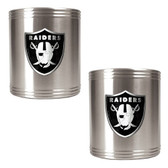 Oakland Raiders 2pc Stainless Steel Can Holder Set