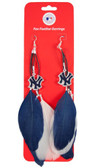 New York Yankees Team Color Feather Earrings