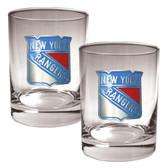 New York Rangers 2pc Rocks Glass Set - Primary Logo