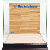 New York Knicks Logo On Court Background Glass Basketball Display Case