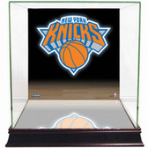 New York Knicks Logo Background Glass Basketball Display Case