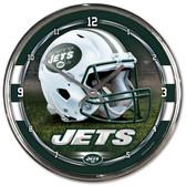 New York Jets Round Chrome Wall Clock