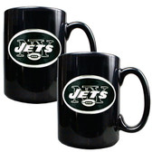 New York Jets 2pc Black Ceramic Mug Set - Primary Logo