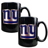 New York Giants  2pc Black Ceramic Mug Set - Primary Logo
