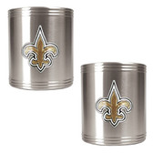 New Orleans Saints 2pc Stainless Steel Can Holder Set