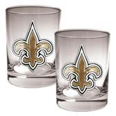New Orleans Saints 2pc Rocks Glass Set