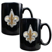 New Orleans Saints 2pc Black Ceramic Mug Set - Primary Logo