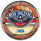 New Orleans Pelicans Round Chrome Wall Clock