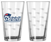 New England Patriots Satin Etch Pint Glass Set