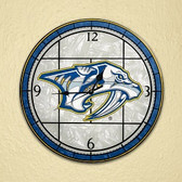 "Nashville Predators 12"" Art Glass Clock"