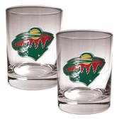 Minnesota Wild 2pc Rocks Glass Set - Primary Logo