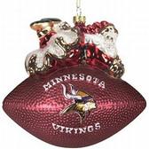 "Minnesota Vikings 5 1/2"" Peggy Abrams Glass Football Ornament"
