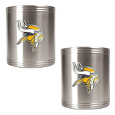 Minnesota Vikings 2pc Stainless Steel Can Holder Set